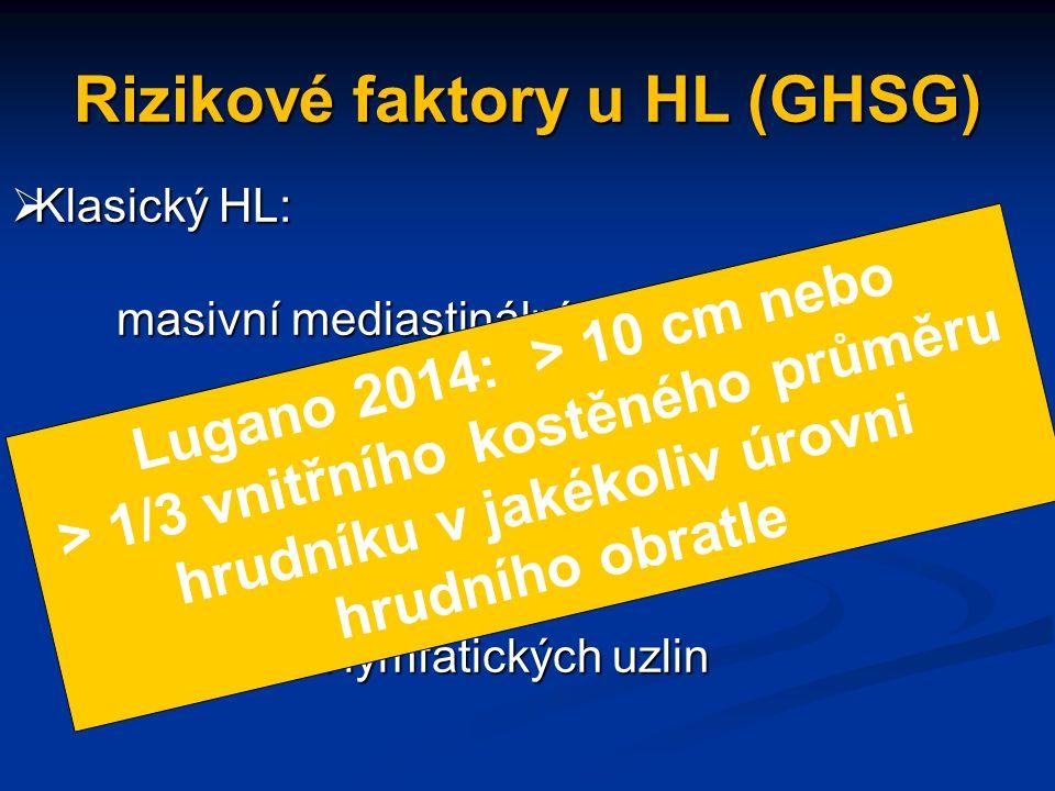 Rizikové faktory u HL (GHSG)  Klasický HL: masivní mediastinální tumor (MMT) masivní mediastinální tumor (MMT) extranodální postižení (EN) vysoká FW vysoká FW > 3 oblasti lymfatických uzlin > 3 oblasti lymfatických uzlin Lugano 2014: > 10 cm nebo > 1/3 vnitřního kostěného průměru hrudníku v jakékoliv úrovni hrudního obratle