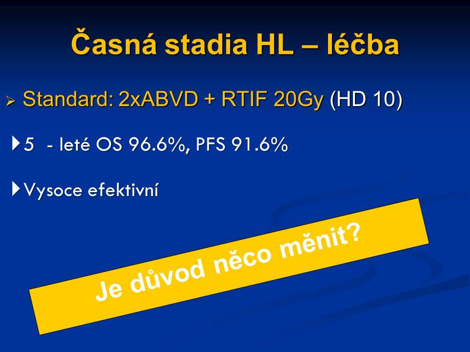 Časná stadia HL – léčba  Standard: 2xABVD + RTIF 20Gy (HD 10)  5 - leté OS 96.6%, PFS 91.6%  Vysoce efektivní Je důvod něco měnit?