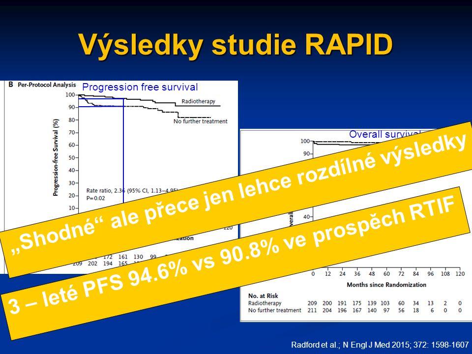 """Výsledky studie RAPID Radford et al.; N Engl J Med 2015; 372: 1598-1607 Progression free survival Overall survival 3 – leté PFS 94.6% vs 90.8% ve prospěch RTIF """"Shodné ale přece jen lehce rozdílné výsledky"""