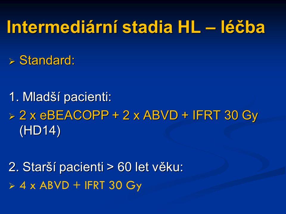 Intermediární stadia HL – léčba  Standard: 1.