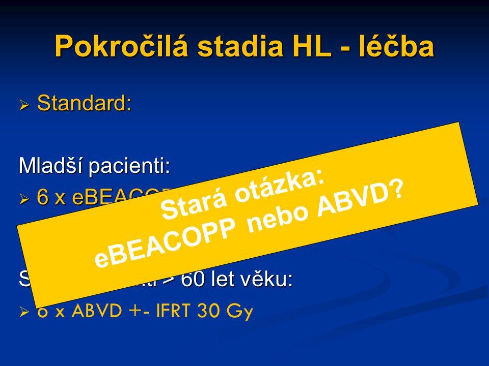 Pokročilá stadia HL - léčba  Standard: Mladší pacienti:  6 x eBEACOPP +- IFRT 30 Gy  (radioterapie na PET avidní reziduum > 2.5 cm) Starší pacienti > 60 let věku:  6 x ABVD +- IFRT 30 Gy Stará otázka: eBEACOPP nebo ABVD