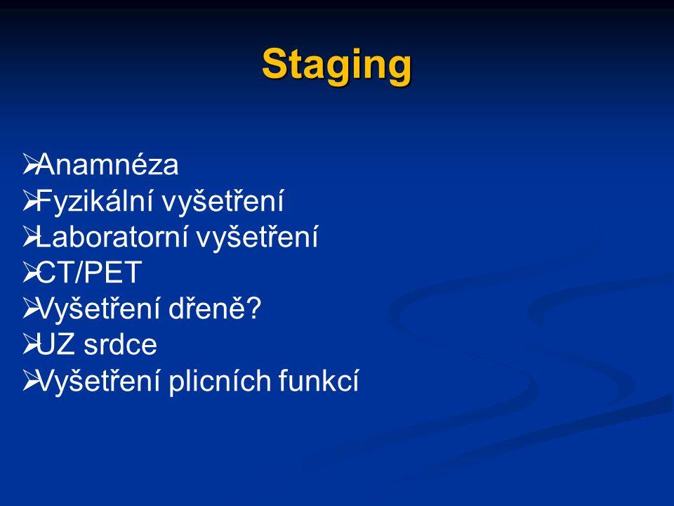 Staging  Anamnéza  Fyzikální vyšetření  Laboratorní vyšetření  CT/PET  Vyšetření dřeně.