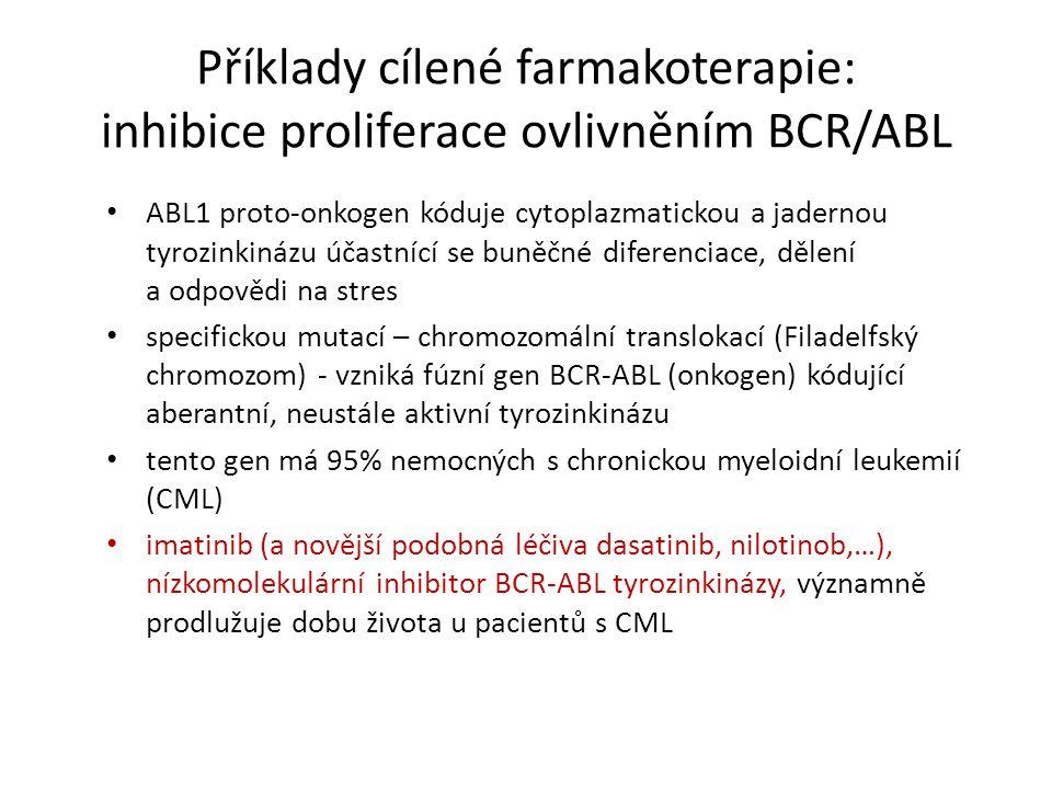 Příklady cílené farmakoterapie: inhibice proliferace ovlivněním BCR/ABL ABL1 proto-onkogen kóduje cytoplazmatickou a jadernou tyrozinkinázu účastnící se buněčné diferenciace, dělení a odpovědi na stres specifickou mutací – chromozomální translokací (Filadelfský chromozom) - vzniká fúzní gen BCR-ABL (onkogen) kódující aberantní, neustále aktivní tyrozinkinázu tento gen má 95% nemocných s chronickou myeloidní leukemií (CML) imatinib (a novější podobná léčiva dasatinib, nilotinob,…), nízkomolekulární inhibitor BCR-ABL tyrozinkinázy, významně prodlužuje dobu života u pacientů s CML