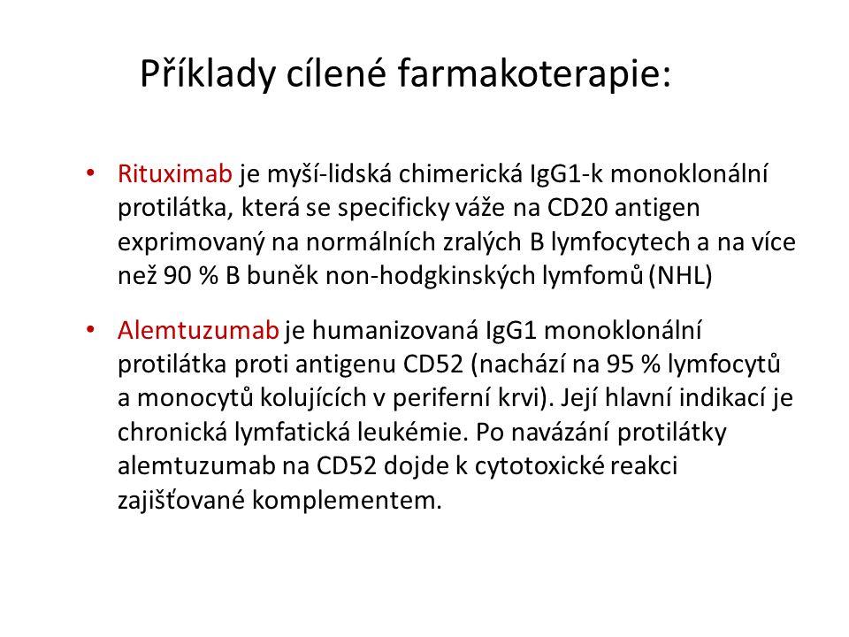 Příklady cílené farmakoterapie: Rituximab je myší-lidská chimerická IgG1-k monoklonální protilátka, která se specificky váže na CD20 antigen exprimovaný na normálních zralých B lymfocytech a na více než 90 % B buněk non-hodgkinských lymfomů (NHL) Alemtuzumab je humanizovaná IgG1 monoklonální protilátka proti antigenu CD52 (nachází na 95 % lymfocytů a monocytů kolujících v periferní krvi).