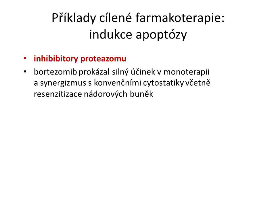 Příklady cílené farmakoterapie: indukce apoptózy inhibibitory proteazomu bortezomib prokázal silný účinek v monoterapii a synergizmus s konvenčními cytostatiky včetně resenzitizace nádorových buněk