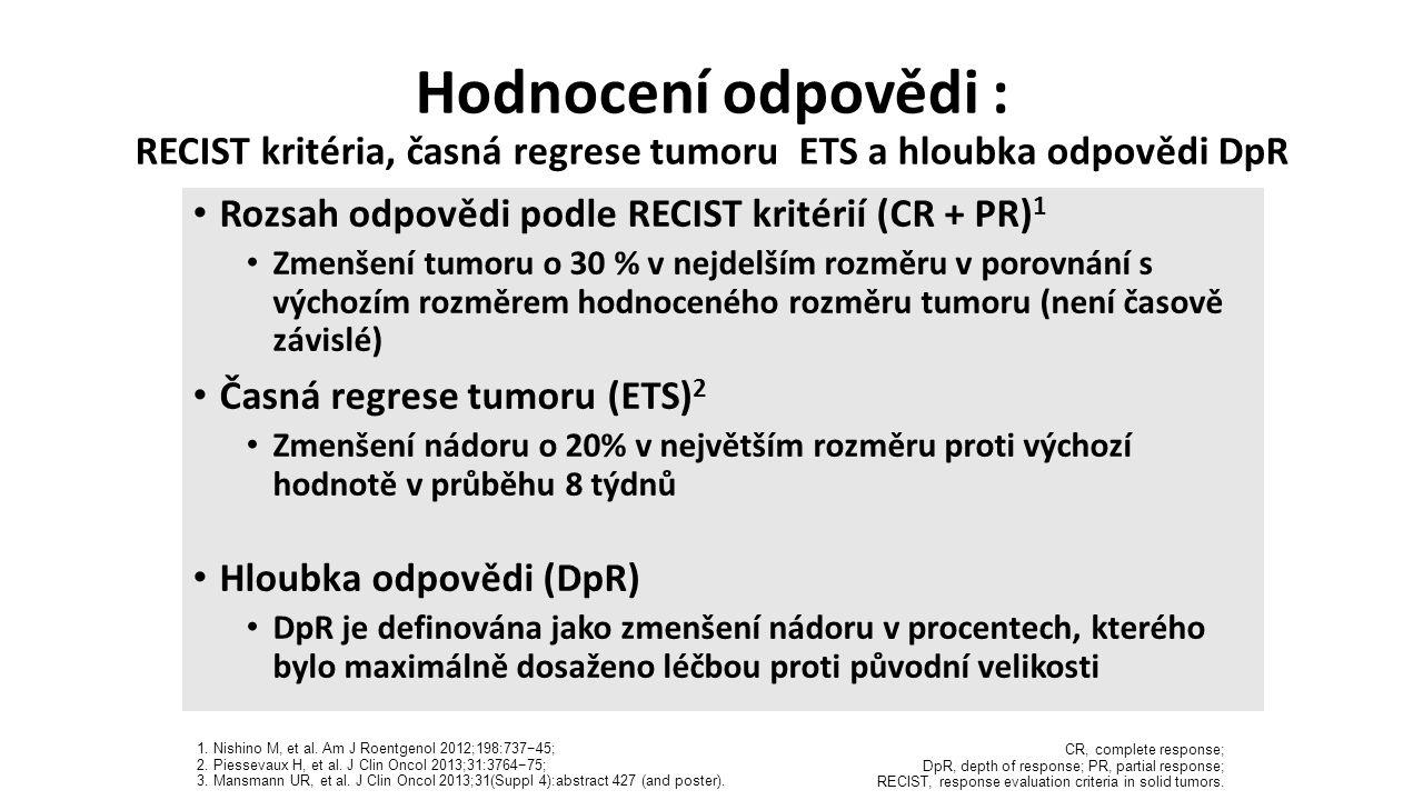 Hodnocení odpovědi : RECIST kritéria, časná regrese tumoru ETS a hloubka odpovědi DpR CR, complete response; DpR, depth of response; PR, partial respo