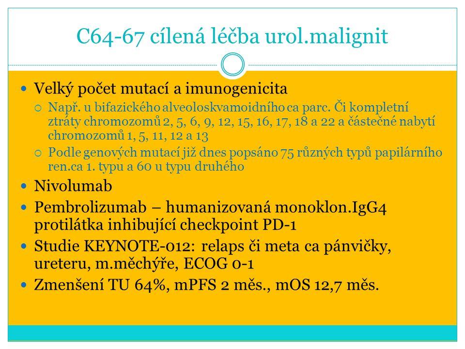 C64-67 cílená léčba urol.malignit Velký počet mutací a imunogenicita  Např.
