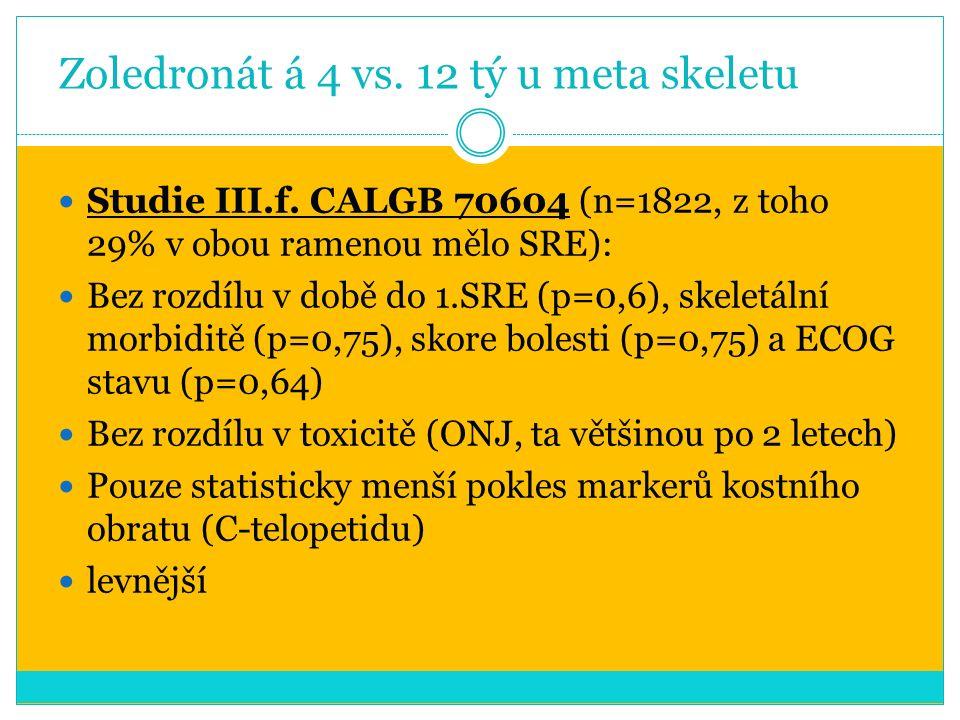 Zoledronát á 4 vs. 12 tý u meta skeletu Studie III.f.