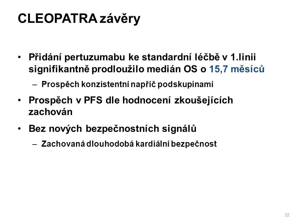 CLEOPATRA závěry Přidání pertuzumabu ke standardní léčbě v 1.linii signifikantně prodloužilo medián OS o 15,7 měsíců –Prospěch konzistentní napříč podskupinami Prospěch v PFS dle hodnocení zkoušejících zachován Bez nových bezpečnostních signálů –Zachovaná dlouhodobá kardiální bezpečnost 22