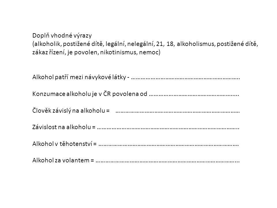 Doplň vhodné výrazy (alkoholik, postižené dítě, legální, nelegální, 21, 18, alkoholismus, postižené dítě, zákaz řízení, je povolen, nikotinismus, nemo