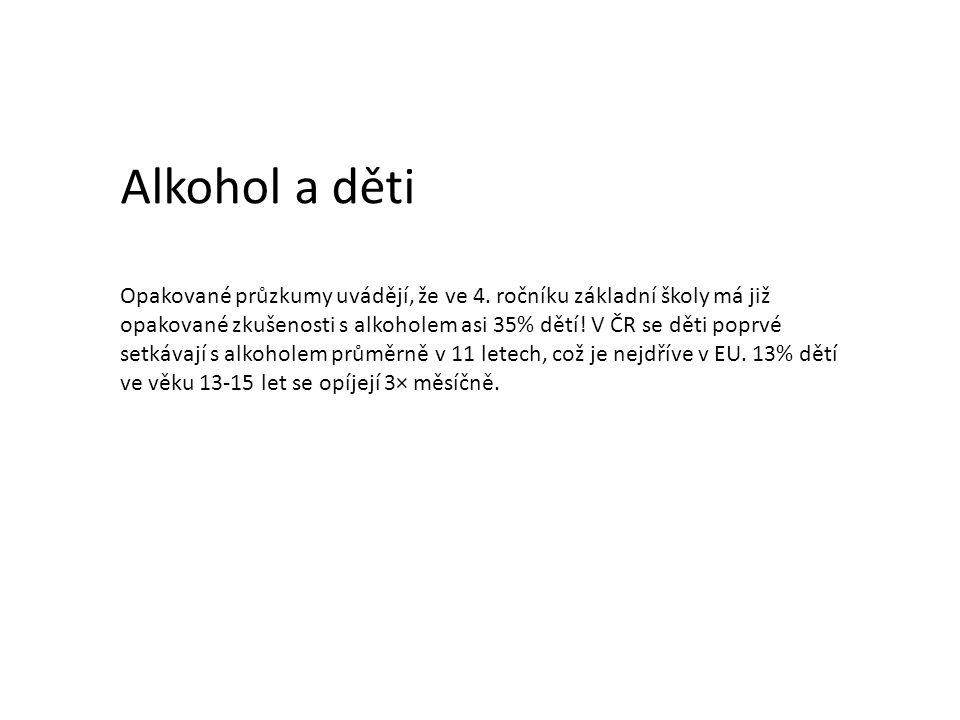 Alkohol a děti Opakované průzkumy uvádějí, že ve 4. ročníku základní školy má již opakované zkušenosti s alkoholem asi 35% dětí! V ČR se děti poprvé s