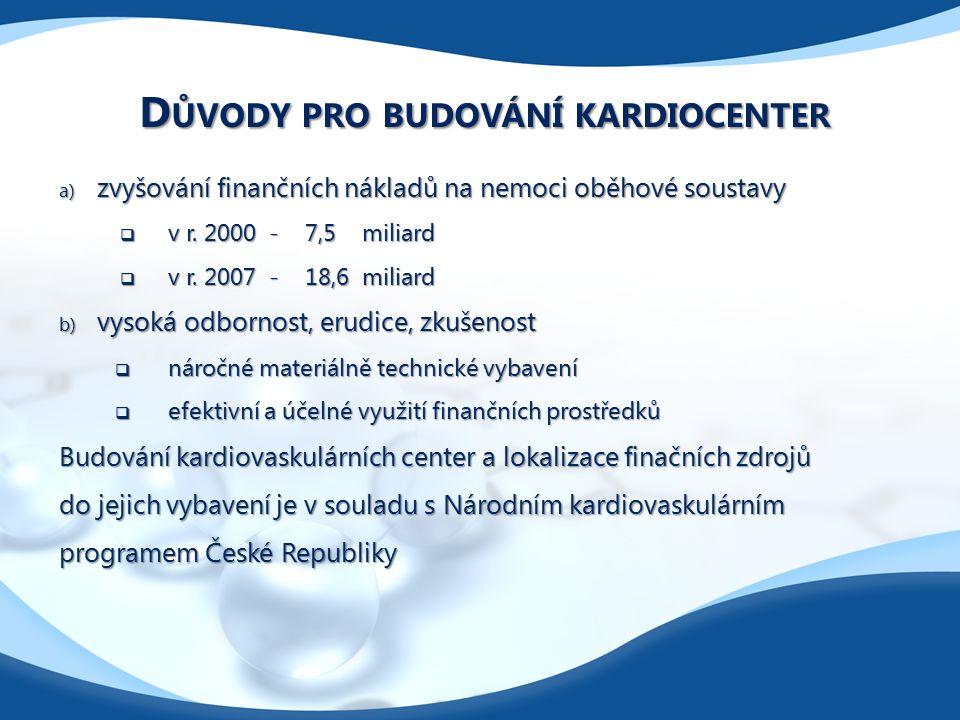 D ŮVODY PRO BUDOVÁNÍ KARDIOCENTER a) zvyšování finančních nákladů na nemoci oběhové soustavy  v r.