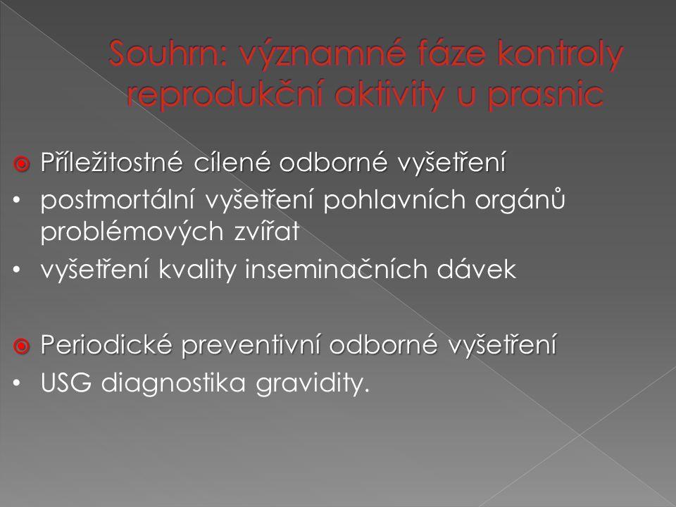  Příležitostné cílené odborné vyšetření postmortální vyšetření pohlavních orgánů problémových zvířat vyšetření kvality inseminačních dávek  Periodické preventivní odborné vyšetření USG diagnostika gravidity.