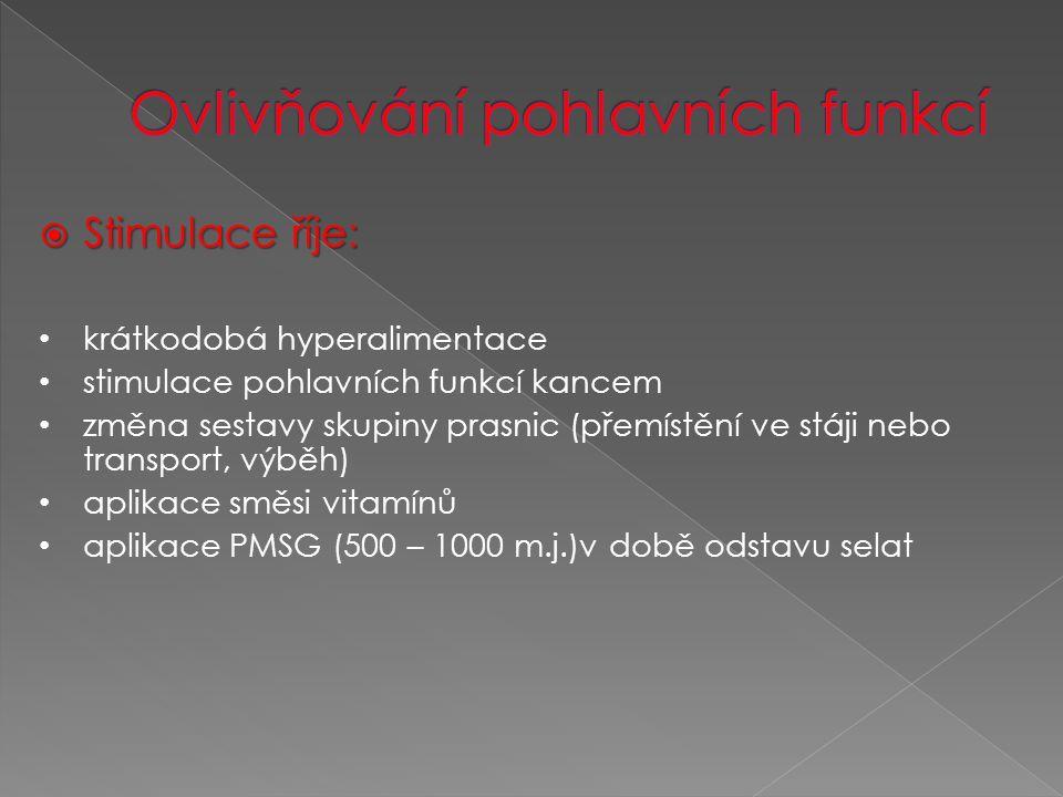  Stimulace říje: krátkodobá hyperalimentace stimulace pohlavních funkcí kancem změna sestavy skupiny prasnic (přemístění ve stáji nebo transport, výběh) aplikace směsi vitamínů aplikace PMSG (500 – 1000 m.j.)v době odstavu selat