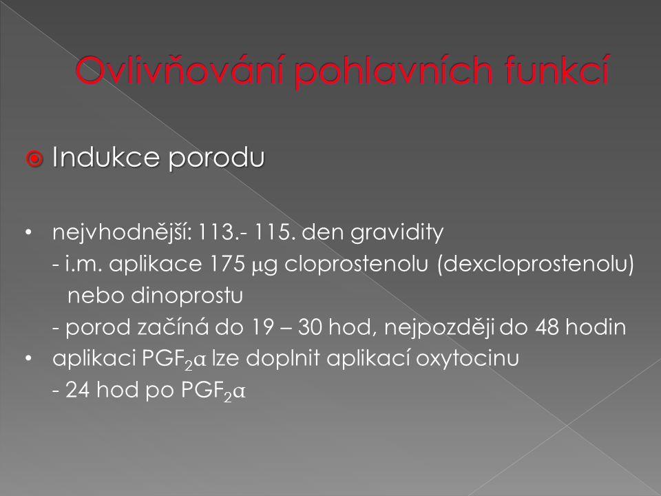  Indukce porodu nejvhodnější: 113.- 115. den gravidity - i.m.