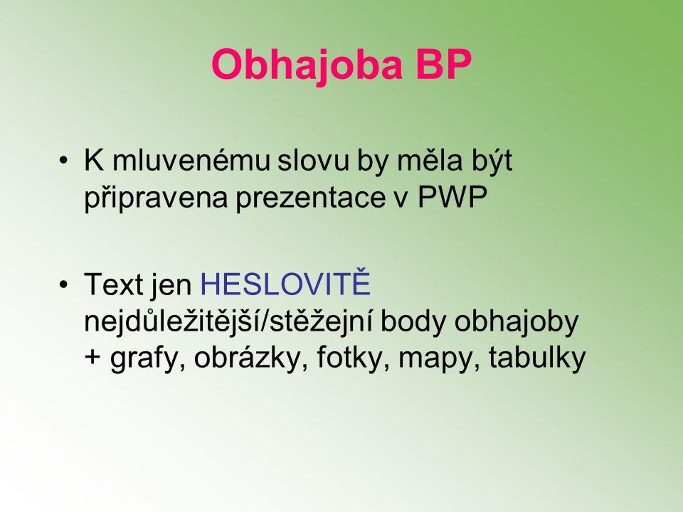 K mluvenému slovu by měla být připravena prezentace v PWP Text jen HESLOVITĚ nejdůležitější/stěžejní body obhajoby + grafy, obrázky, fotky, mapy, tabulky Obhajoba BP