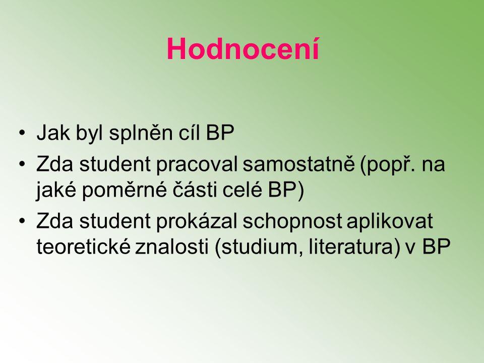 Hodnocení Jak byl splněn cíl BP Zda student pracoval samostatně (popř. na jaké poměrné části celé BP) Zda student prokázal schopnost aplikovat teoreti