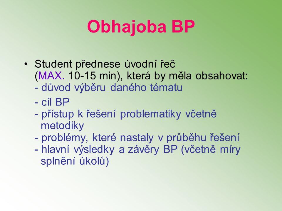 Student přednese úvodní řeč (MAX. 10-15 min), která by měla obsahovat: - důvod výběru daného tématu - cíl BP - přístup k řešení problematiky včetně me