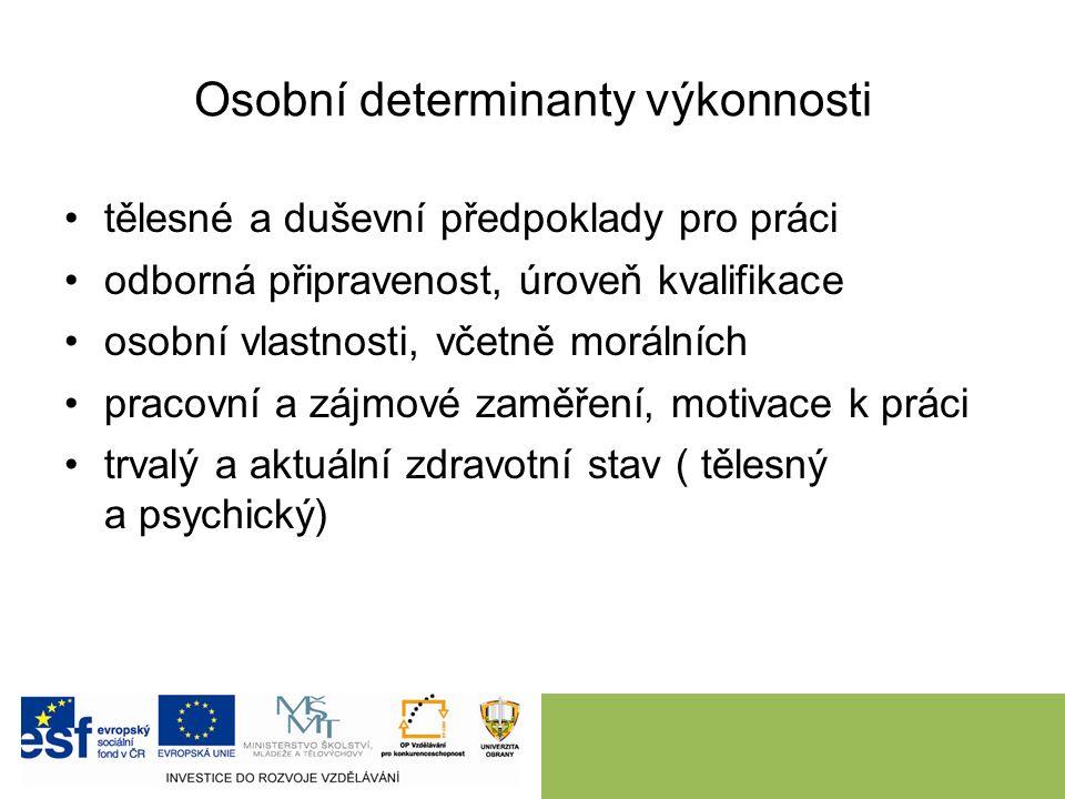 Osobní determinanty výkonnosti tělesné a duševní předpoklady pro práci odborná připravenost, úroveň kvalifikace osobní vlastnosti, včetně morálních pracovní a zájmové zaměření, motivace k práci trvalý a aktuální zdravotní stav ( tělesný a psychický)
