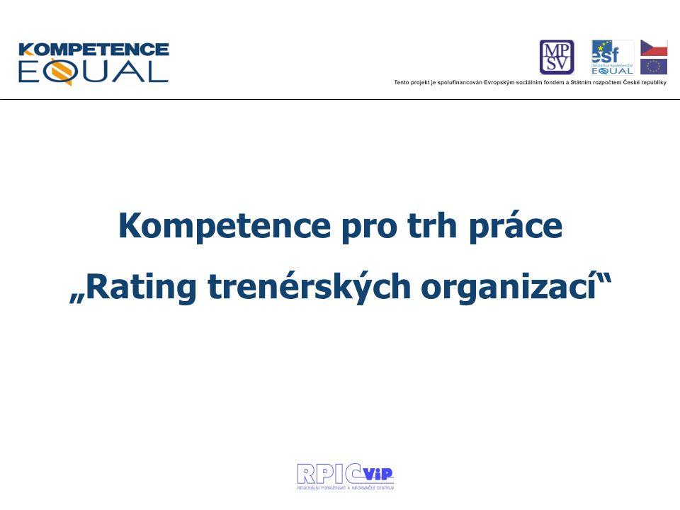 """Kompetence pro trh práce """"Rating trenérských organizací"""