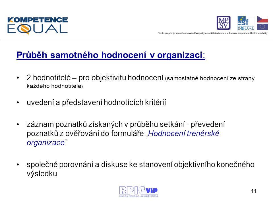 """11 Průběh samotného hodnocení v organizaci: 2 hodnotitelé – pro objektivitu hodnocení (samostatné hodnocení ze strany každého hodnotitele ) uvedení a představení hodnotících kritérií záznam poznatků získaných v průběhu setkání - převedení poznatků z ověřování do formuláře """"Hodnocení trenérské organizace společné porovnání a diskuse ke stanovení objektivního konečného výsledku"""