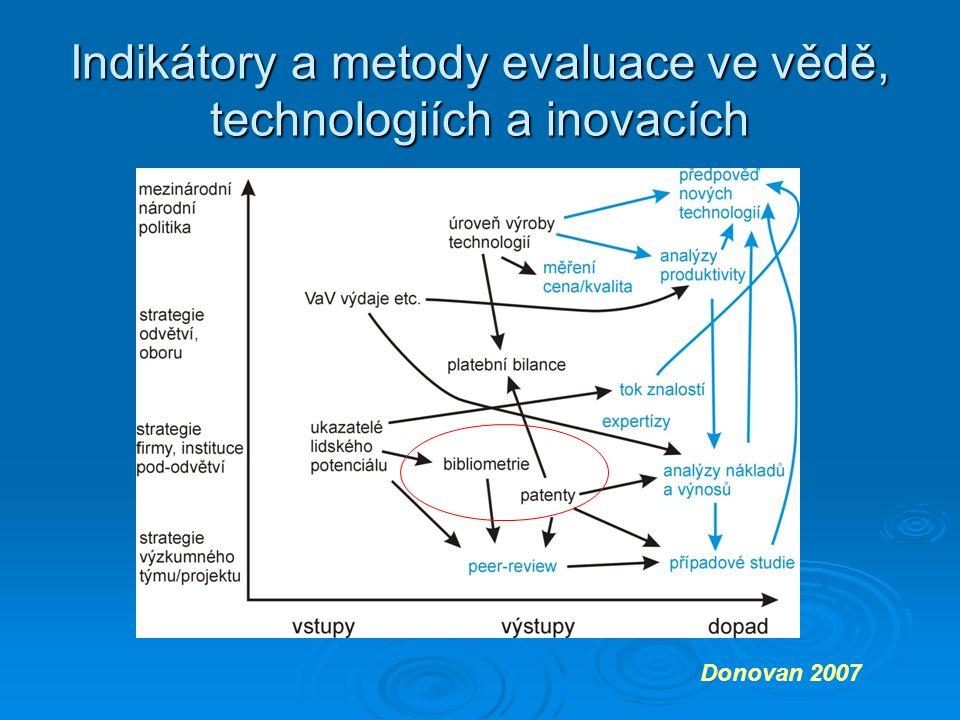 Indikátory a metody evaluace ve vědě, technologiích a inovacích Donovan 2007