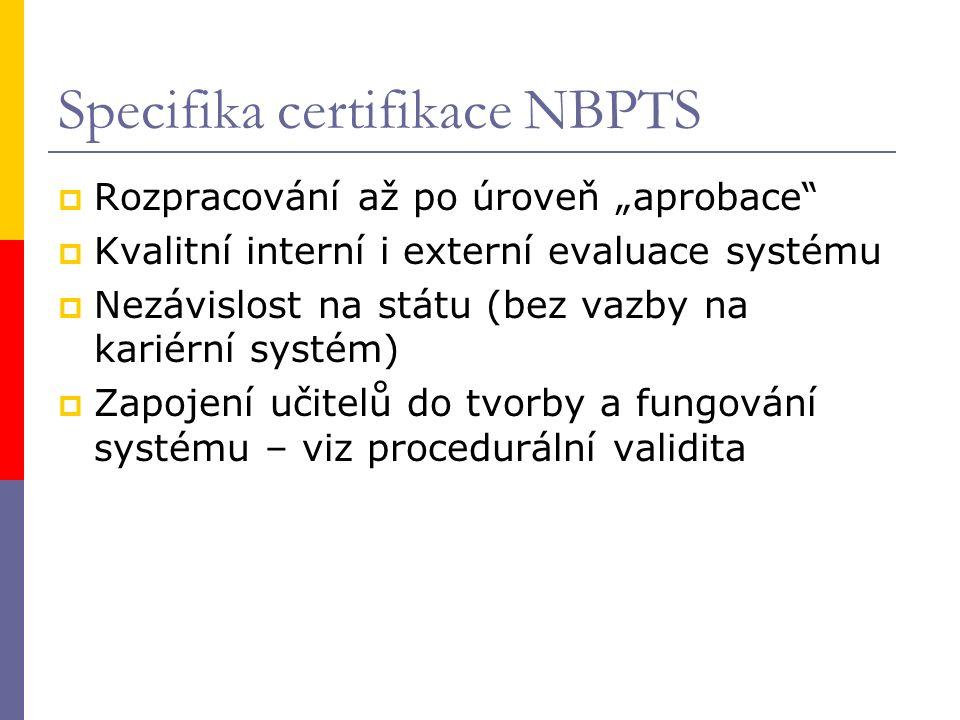 """Specifika certifikace NBPTS  Rozpracování až po úroveň """"aprobace  Kvalitní interní i externí evaluace systému  Nezávislost na státu (bez vazby na kariérní systém)  Zapojení učitelů do tvorby a fungování systému – viz procedurální validita"""