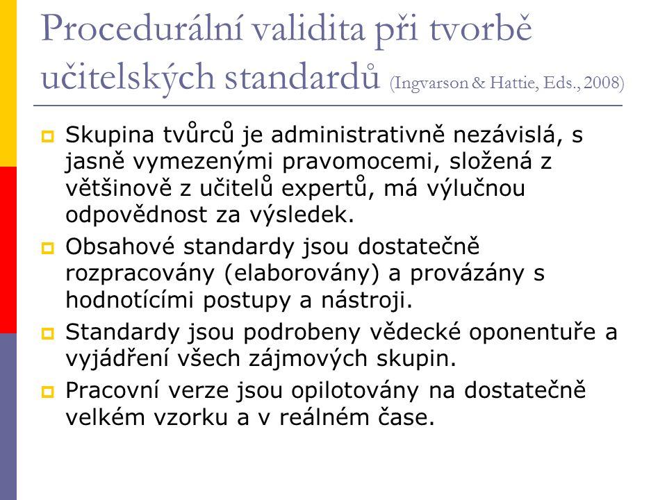 Procedurální validita při tvorbě učitelských standardů (Ingvarson & Hattie, Eds., 2008)  Skupina tvůrců je administrativně nezávislá, s jasně vymezenými pravomocemi, složená z většinově z učitelů expertů, má výlučnou odpovědnost za výsledek.