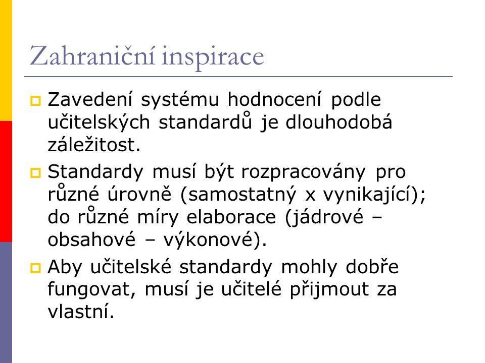 Zahraniční inspirace  Zavedení systému hodnocení podle učitelských standardů je dlouhodobá záležitost.  Standardy musí být rozpracovány pro různé úr