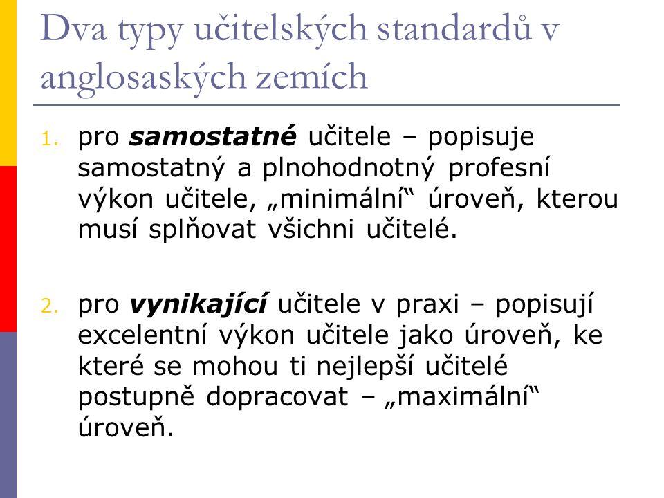 """Dva typy učitelských standardů v anglosaských zemích 1. pro samostatné učitele – popisuje samostatný a plnohodnotný profesní výkon učitele, """"minimální"""