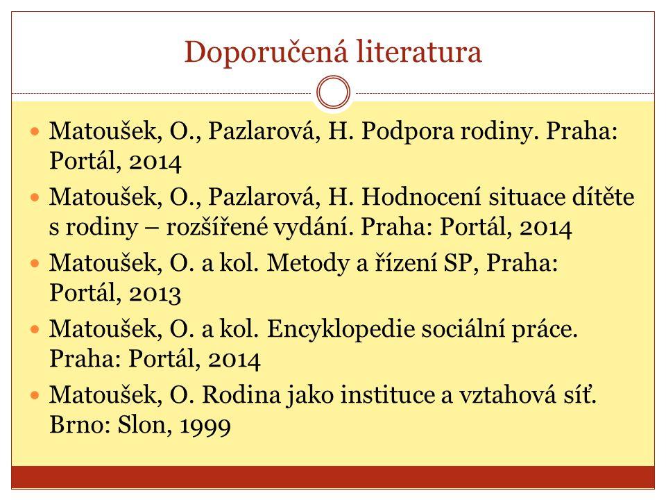 Doporučená literatura Matoušek, O., Pazlarová, H. Podpora rodiny.