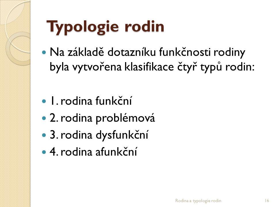 Typologie rodin Na základě dotazníku funkčnosti rodiny byla vytvořena klasifikace čtyř typů rodin: 1. rodina funkční 2. rodina problémová 3. rodina dy