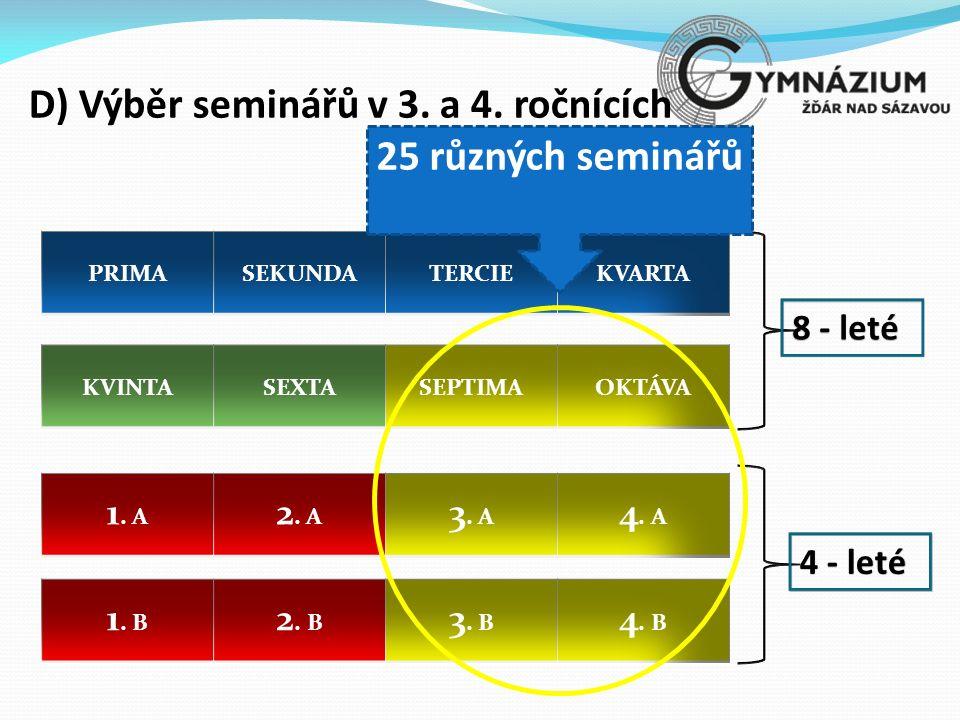8 - leté 4 - leté D) Výběr seminářů v 3. a 4. ročnících 25 různých seminářů