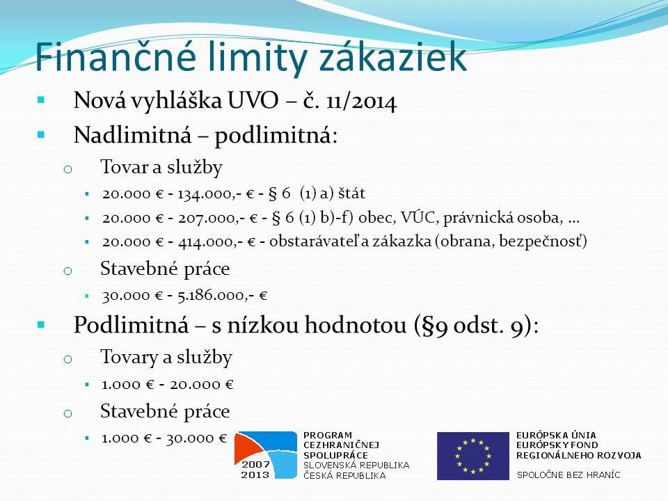 Finančné limity zákaziek  Nová vyhláška UVO – č.