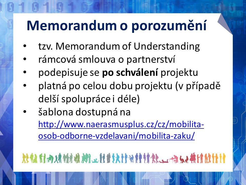 Memorandum o porozumění tzv. Memorandum of Understanding rámcová smlouva o partnerství podepisuje se po schválení projektu platná po celou dobu projek
