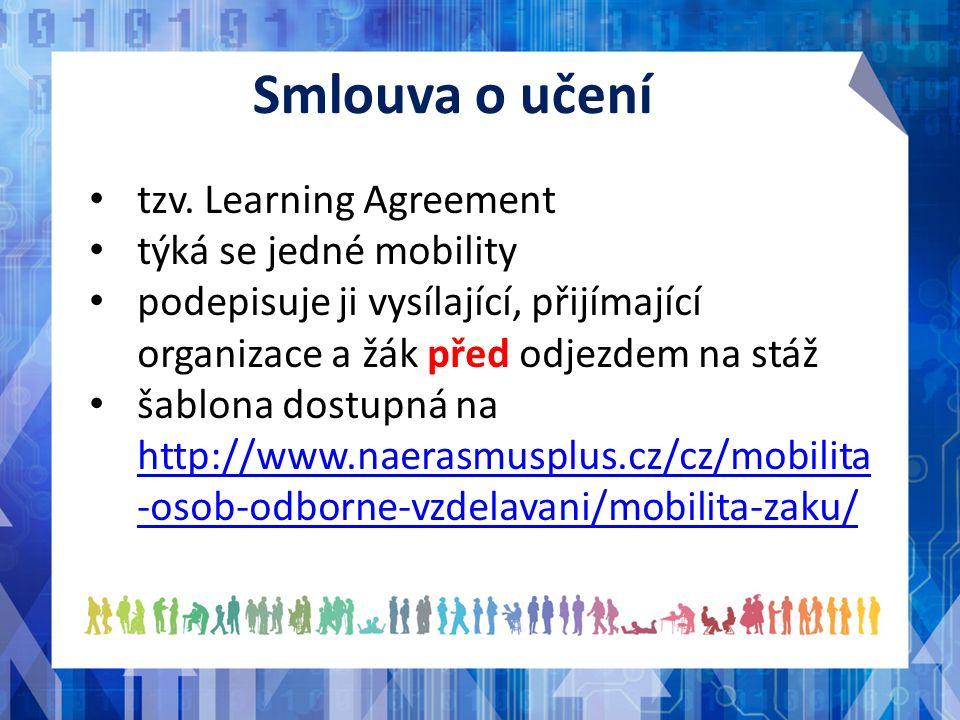 tzv. Learning Agreement týká se jedné mobility podepisuje ji vysílající, přijímající organizace a žák před odjezdem na stáž šablona dostupná na http:/