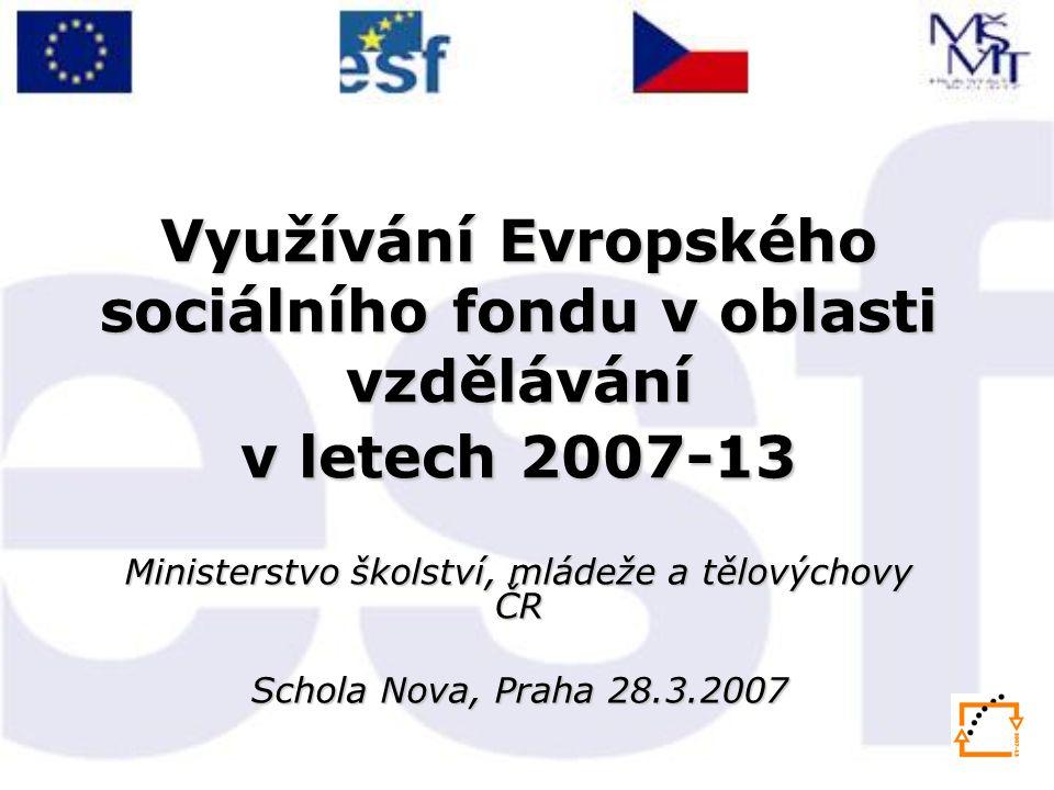 Využívání Evropského sociálního fondu v oblasti vzdělávání v letech 2007-13 Ministerstvo školství, mládeže a tělovýchovy ČR Schola Nova, Praha 28.3.20