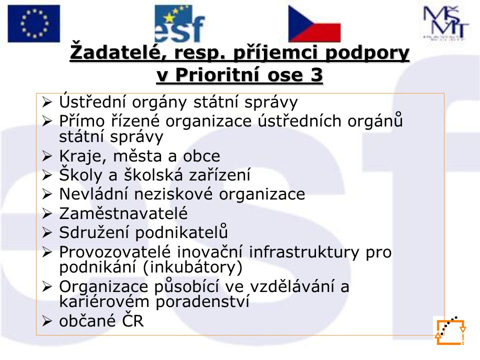 Žadatelé, resp. příjemci podpory v Prioritní ose 3  Ústřední orgány státní správy  Přímo řízené organizace ústředních orgánů státní správy  Kraje,