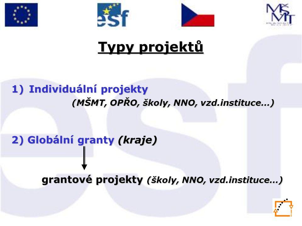 Typy projektů 1)Individuální projekty (MŠMT, OPŘO, školy, NNO, vzd.instituce…) 2) Globální granty (kraje) grantové projekty (školy, NNO, vzd.instituce…)