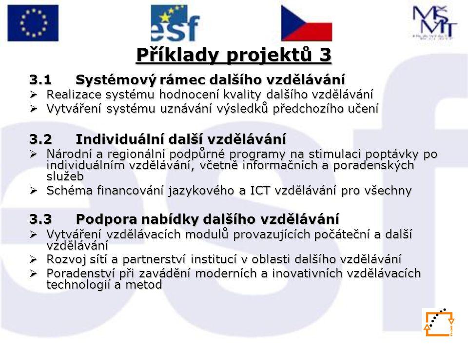Příklady projektů 3 3.1 Systémový rámec dalšího vzdělávání  Realizace systému hodnocení kvality dalšího vzdělávání  Vytváření systému uznávání výsledků předchozího učení 3.2 Individuální další vzdělávání  Národní a regionální podpůrné programy na stimulaci poptávky po individuálním vzdělávání, včetně informačních a poradenských služeb  Schéma financování jazykového a ICT vzdělávání pro všechny 3.3 Podpora nabídky dalšího vzdělávání  Vytváření vzdělávacích modulů provazujících počáteční a další vzdělávání  Rozvoj sítí a partnerství institucí v oblasti dalšího vzdělávání  Poradenství při zavádění moderních a inovativních vzdělávacích technologií a metod