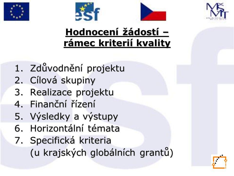 Hodnocení žádostí – rámec kriterií kvality 1.Zdůvodnění projektu 2.Cílová skupiny 3.Realizace projektu 4.Finanční řízení 5.Výsledky a výstupy 6.Horizontální témata 7.Specifická kriteria (u krajských globálních grantů)