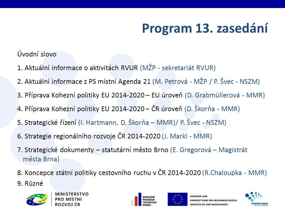 Úvodní slovo 1. Aktuální informace o aktivitách RVUR (MŽP - sekretariát RVUR) 2. Aktuální informace z PS místní Agenda 21 (M. Petrová - MŽP / P. Švec