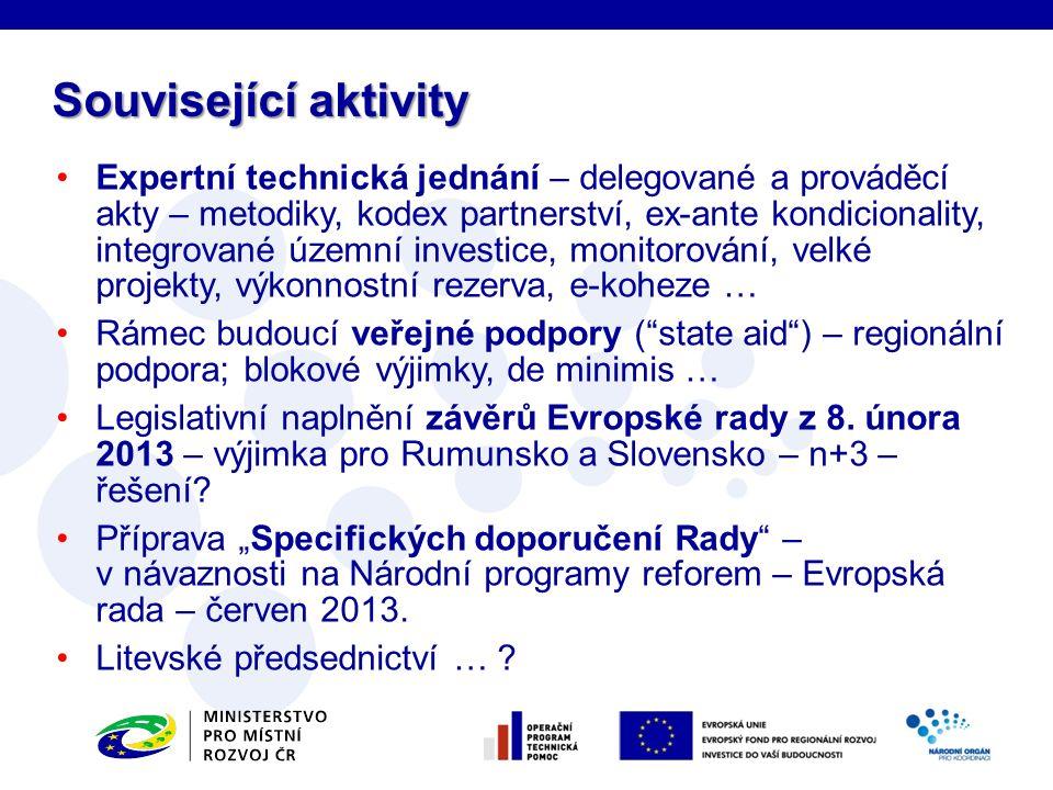 Expertní technická jednání – delegované a prováděcí akty – metodiky, kodex partnerství, ex-ante kondicionality, integrované územní investice, monitoro
