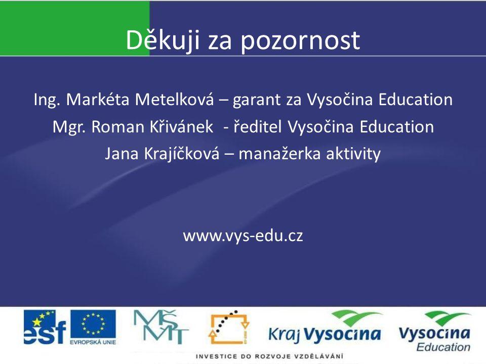 Děkuji za pozornost Ing. Markéta Metelková – garant za Vysočina Education Mgr. Roman Křivánek - ředitel Vysočina Education Jana Krajíčková – manažerka