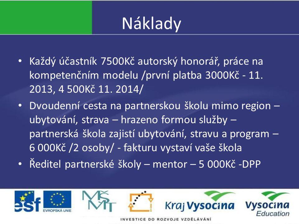 Náklady Každý účastník 7500Kč autorský honorář, práce na kompetenčním modelu /první platba 3000Kč - 11. 2013, 4 500Kč 11. 2014/ Dvoudenní cesta na par