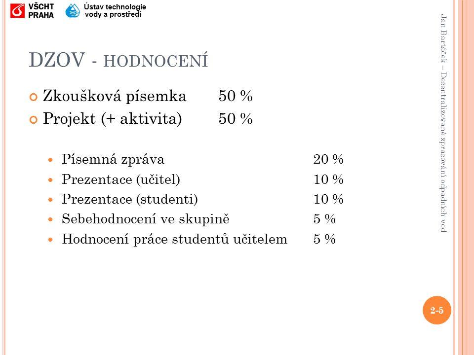 Jan Bartáček – Decentralizované zpracování odpadních vod Ústav technologie vody a prostředí DZOV - HODNOCENÍ Zkoušková písemka50 % Projekt (+ aktivita)50 % Písemná zpráva20 % Prezentace (učitel)10 % Prezentace (studenti)10 % Sebehodnocení ve skupině5 % Hodnocení práce studentů učitelem5 % 2-5
