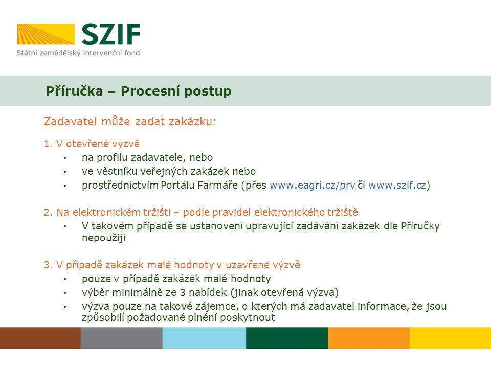 Příručka – Procesní postup Zadavatel může zadat zakázku: 1.