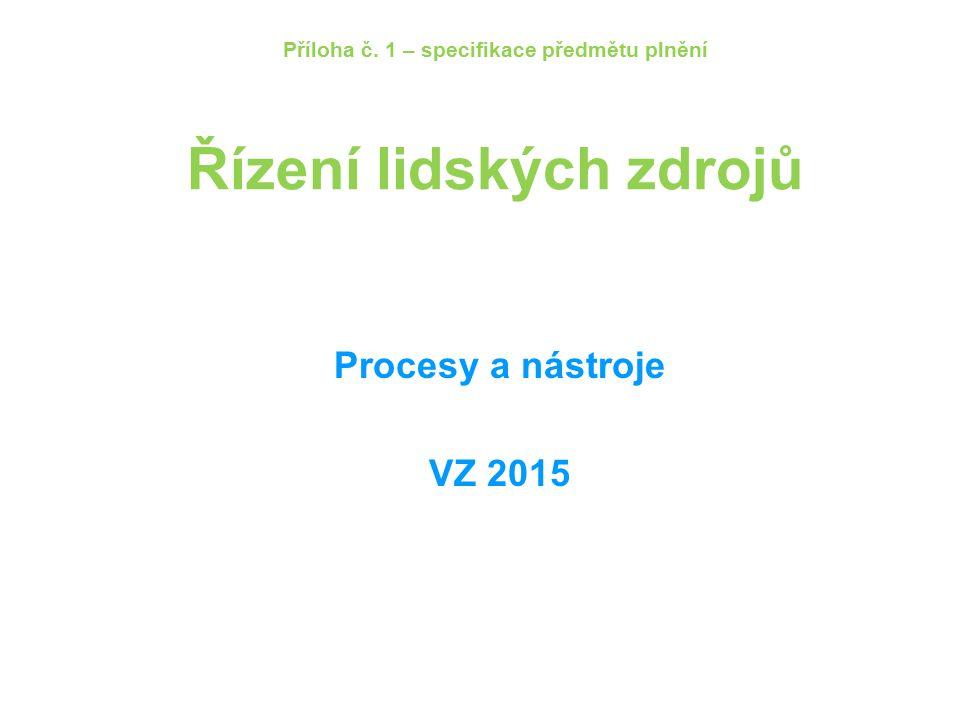 Příloha č. 1 – specifikace předmětu plnění Řízení lidských zdrojů Procesy a nástroje VZ 2015
