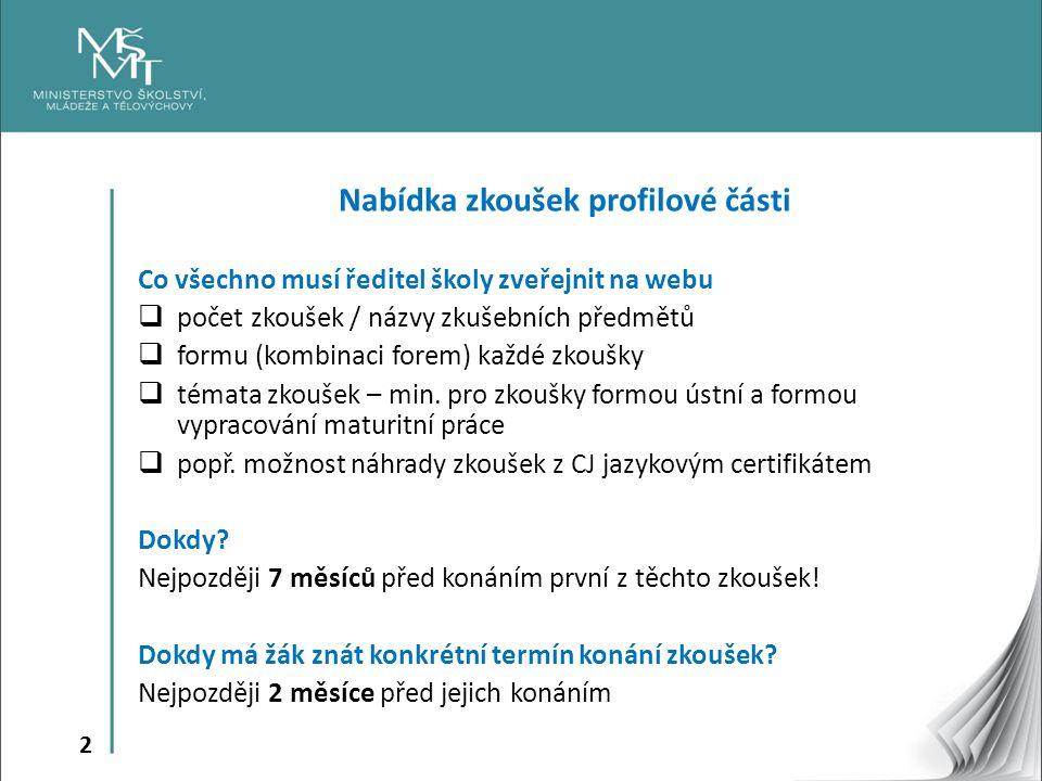2 Nabídka zkoušek profilové části Co všechno musí ředitel školy zveřejnit na webu  počet zkoušek / názvy zkušebních předmětů  formu (kombinaci forem) každé zkoušky  témata zkoušek – min.