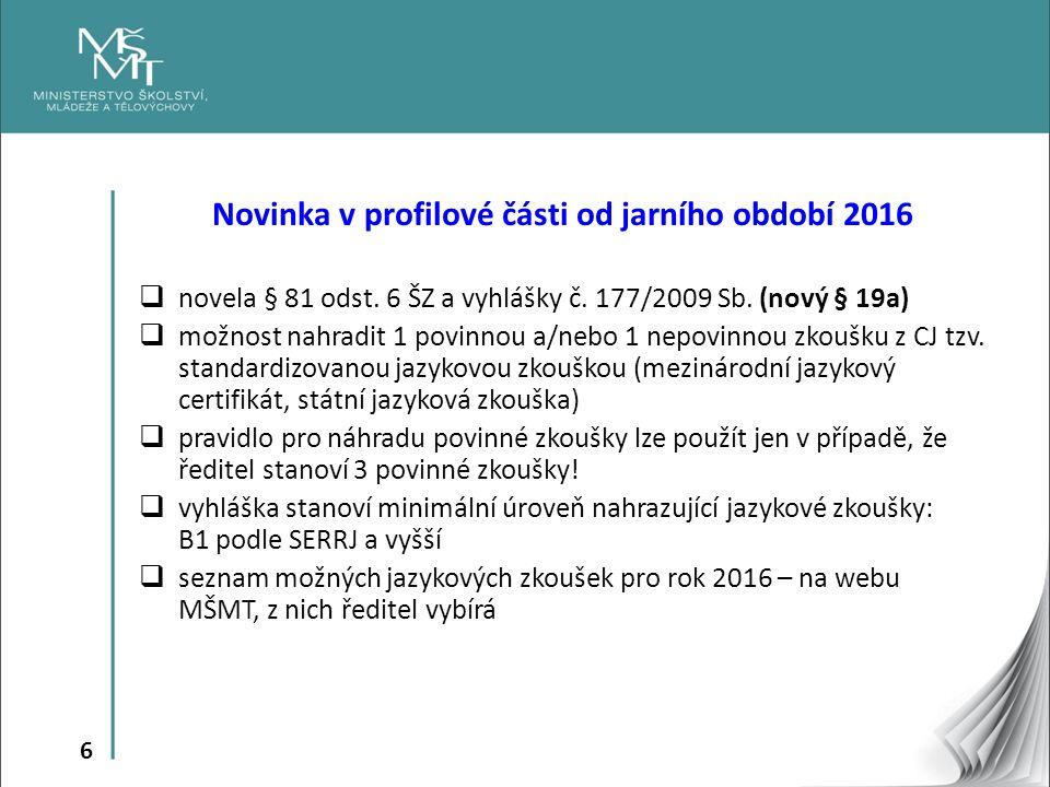 6 Novinka v profilové části od jarního období 2016  novela § 81 odst.
